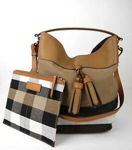 Details about Burberry Brown Brit Canvas Check Medium Ashby Tassel Hobo Bag wpouch 39829371