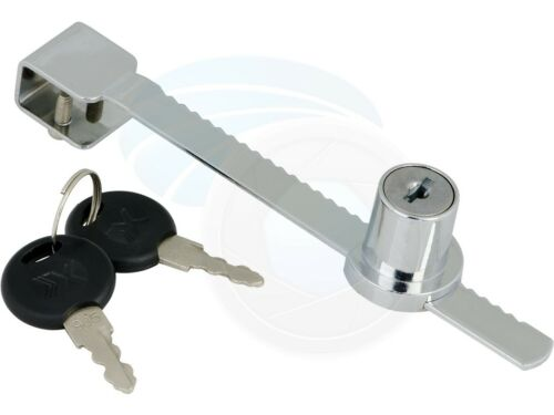 Chrome Metal Ratchet Bar Sliding Glass Showcase Door Lock with 2 Keys