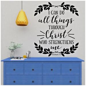 "Philippians 4:13 I CAN DO ALL THINGS THROUGH CHRIST Wall Art Vinyl Decal 22x26/"""