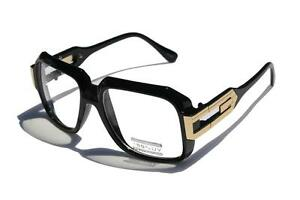 Gloss-Black-Clear-Lens-Square-Sun-Glasses-Gold-Metal-Accents-Hipster