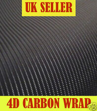 3m x 500mm Black 4D Carbon Fibre Vinyl Wrap Bubble Free Sticky Back Plastic