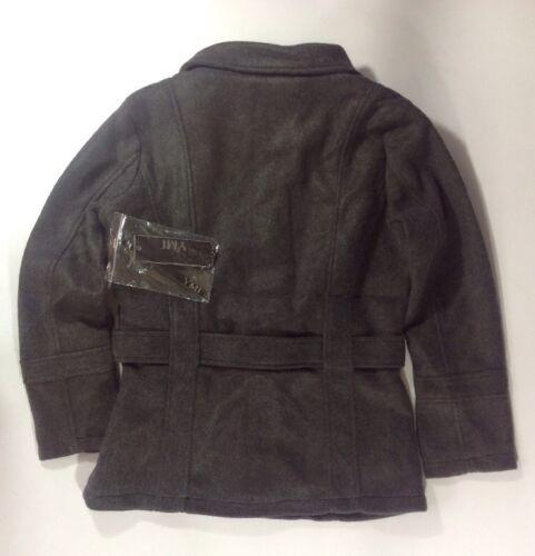 NEW YMI Women/'s Coat Size Medium M Grey Wool Silky Lined Gray Pea Jacket Belt