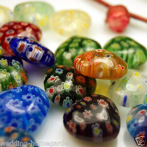 100pcs 10mm Multicolor Shining Heart Millefiori Glass BEAD WITH HOLE Craft Beads