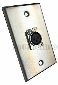 2 Pack 1-port Socket Xlr Femelle Acier Inoxydable Microphone Mic Audio Plaque Murale-afficher Le Titre D'origine