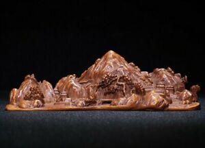 Collect Noble natural boxwood carve landscape pine tree rockery statue Pen rack
