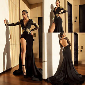 Black Mermaid High Slit Prom Dress Gold Lace Appliques V Neck Party ... 4f967fc7f