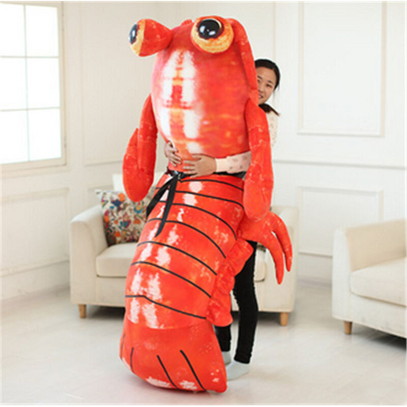 Giant Lifelike Lobster Shrimp Plush Doll Stuffed Simulated Soft Pillow Xmas Gift