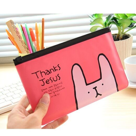 """Pink Rabbit"" Cute Pencil Case Bag Zip Around Cosmetic Makeup Handbag Wallet"