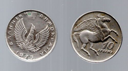 10 drachma Coin 1973 L@@K Horse Pegasus Greek Military JUNTA Phoenix Greece