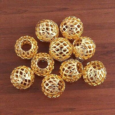 10x Bulk Charms Gold Plated Net Beads Big Hole Fit European Bracelet Finding