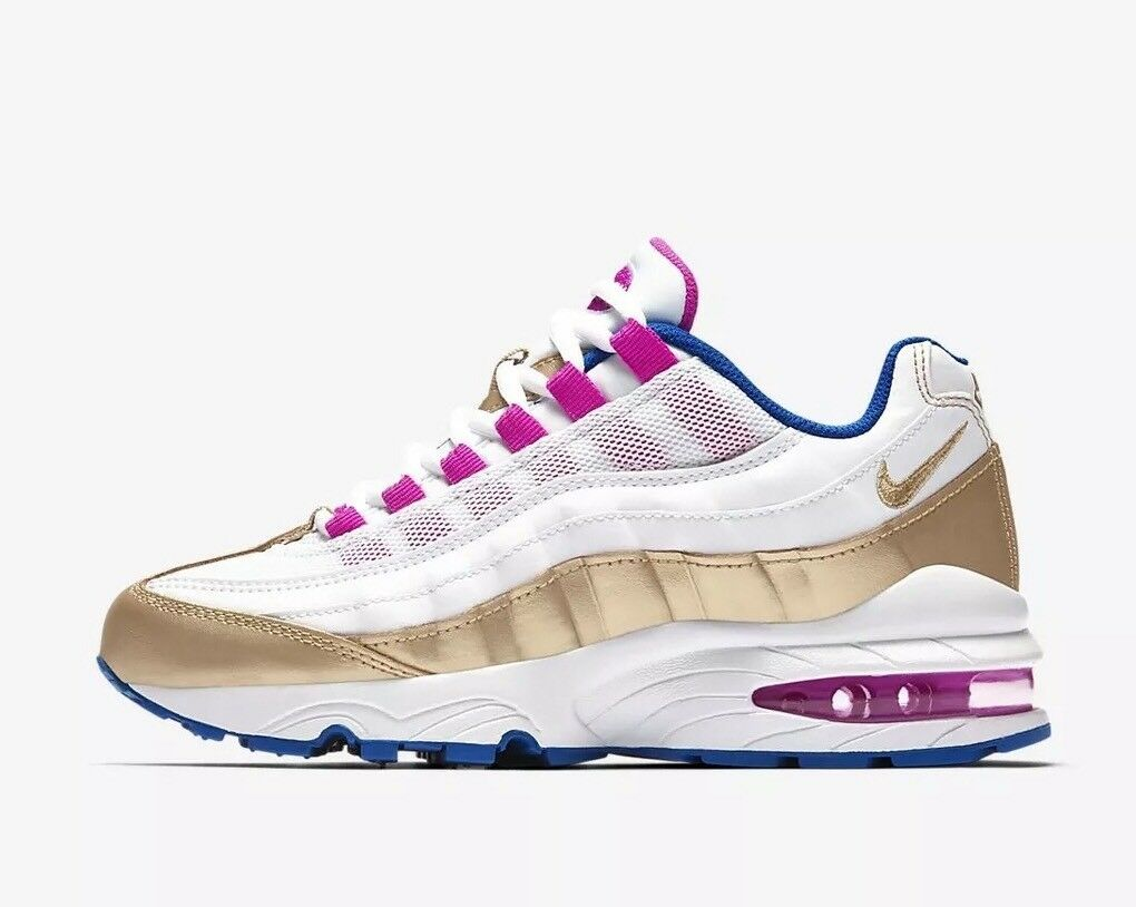 Nike Air Max 95 LE GS Youth 310830-2018 Blanc Doré Bleu Rose5 EU 38 US 5.5Y