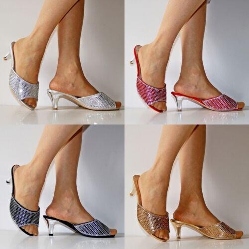 Ladies Party Diamante Low Kitten Heel Wide Feet Shoes Sandals Plus Sizes-A 241