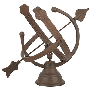 Brown Fallen Fruits Cast Iron Armillary Sundial