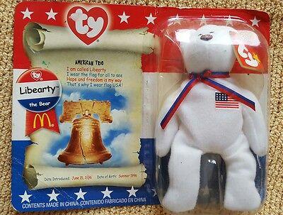 TY Beanie Baby-McDonalds Liberty The Bear-NIB-Liberty Bell