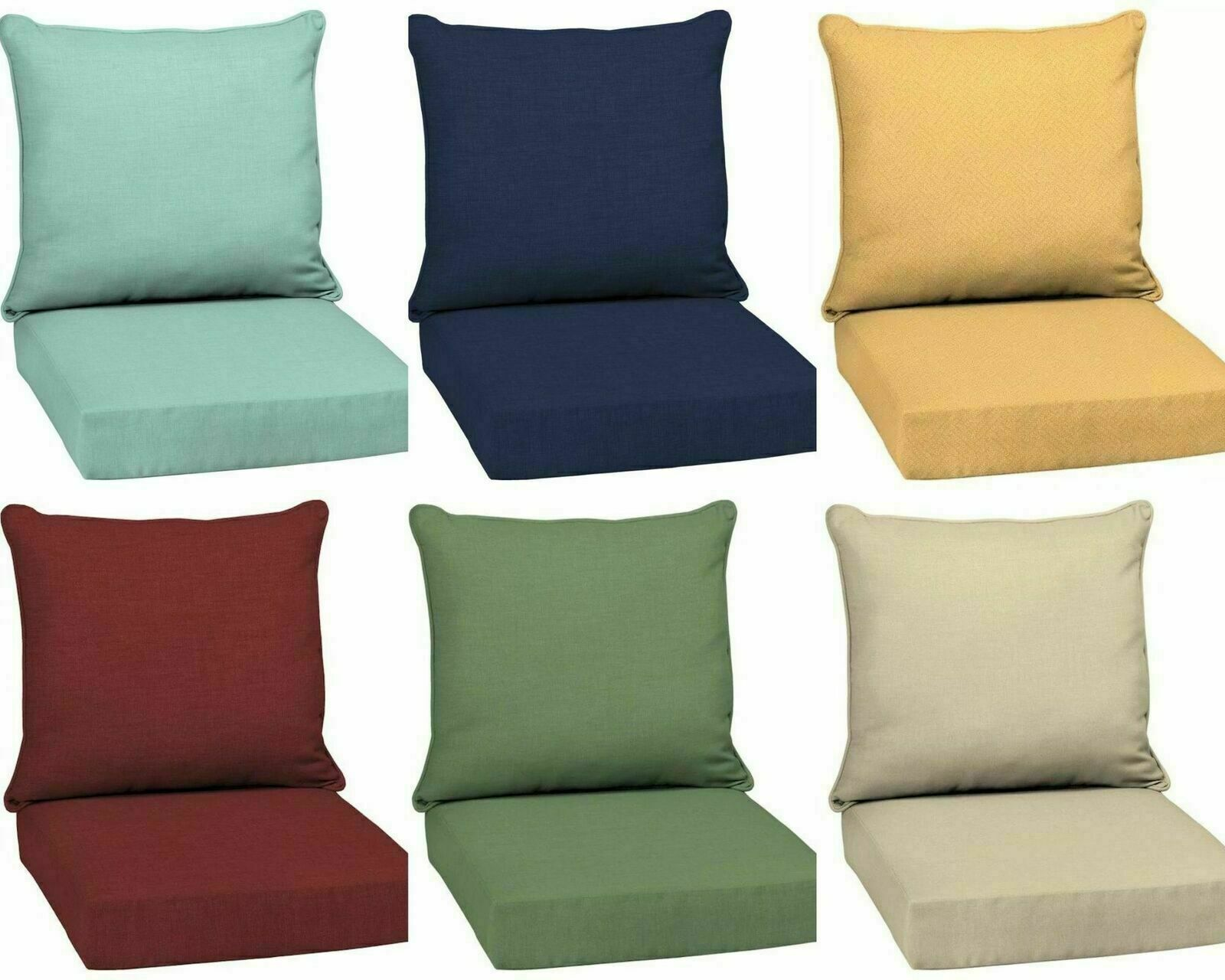Patio Furniture Seat Cushions Lawn Chair Outdoor Set 2 Tufted Weather Resistant For Sale Ebay