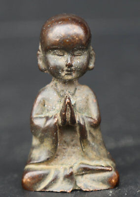 """2/"""" China Fengshui Bronze Buddhism Young Lovable Monk Small Shami Statue Statuary"""