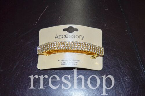 4-ROW RHINESTONES BARRETTE HAIR CLIP Formal Style CHOOSE GOLD OR SILVER COLOR
