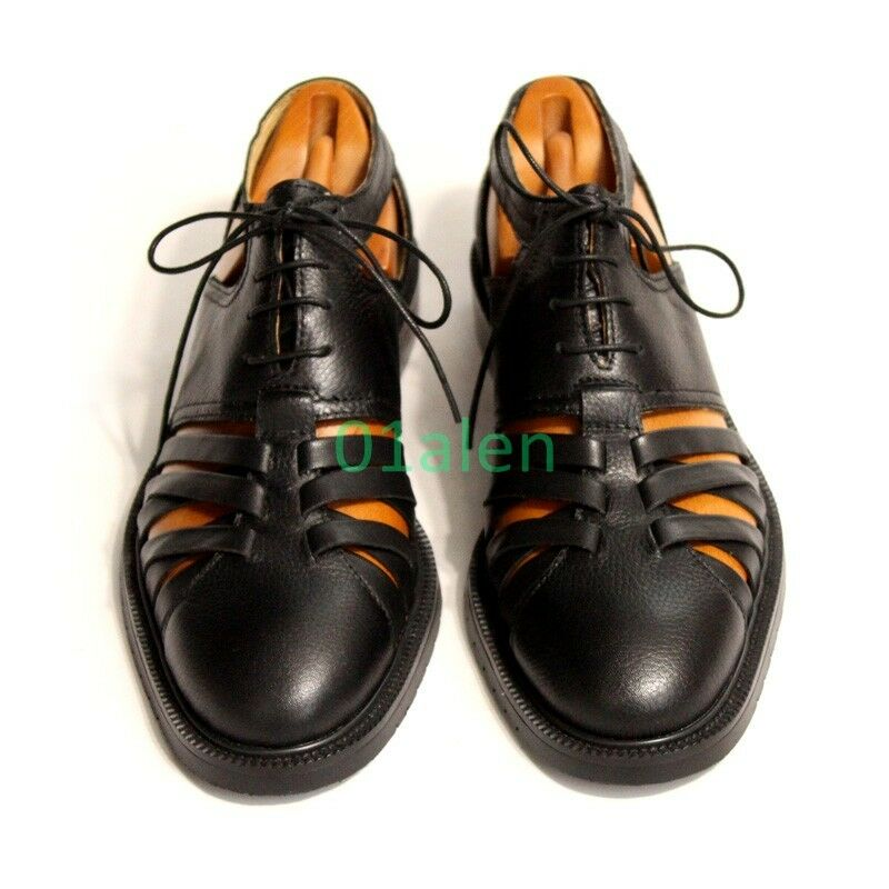 Retro Roma Mens Cow Leather Hollow Out Gladiator Lace Up 2017 Dress Sandal Black