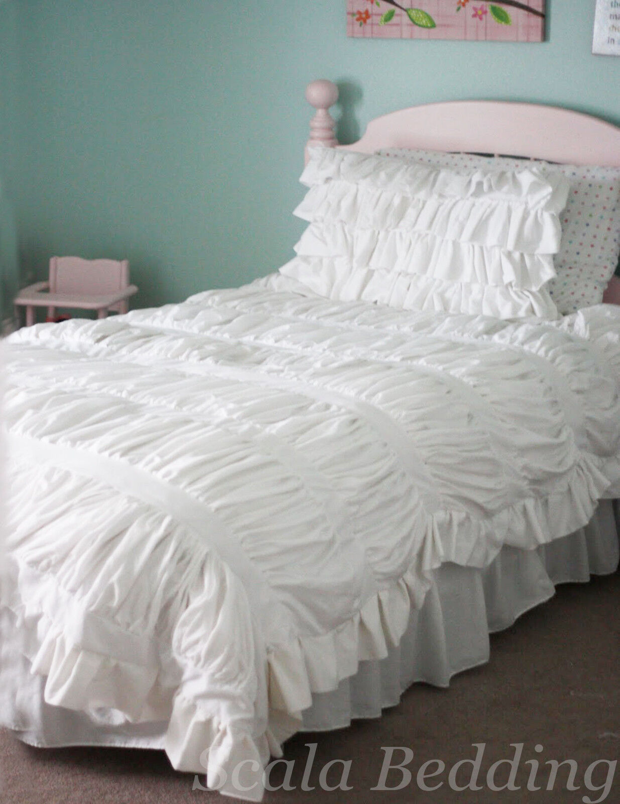 3 Piece Step Gathered Ruffle Duvet Set 100% Egyptian Cotton All size & color