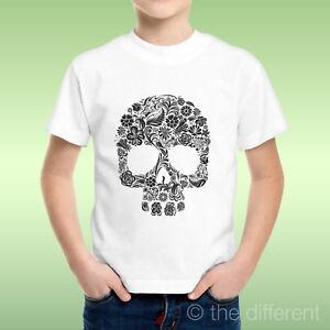 T-Shirt-bebe-Garcon-Crane-Tete-De-Mort-Motif-a-Fleurs-fleurs-Idee-Cadeau