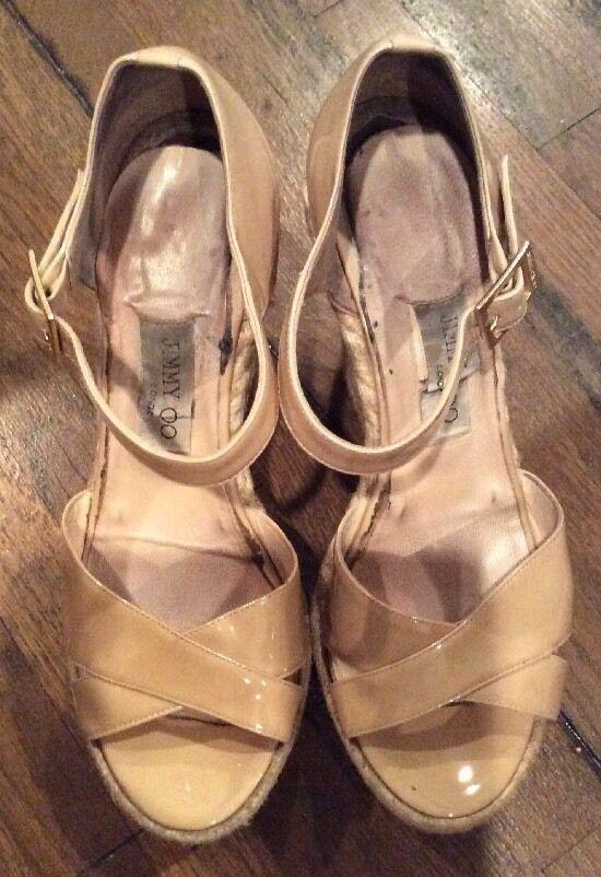 Jimmy Choo PALLIS Schuhes Wedge Sandale Nude Patent Leder Espadrilles Schuhes PALLIS Sz 38.5 69f87f