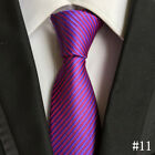 New Men's Solid Color Striped Classic Silk Tie Jacquard Woven Party Work Necktie