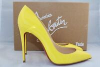 Christian Louboutin 100 Pigalle Follies Sun Yellow Patent Pumps Shoes 37.5
