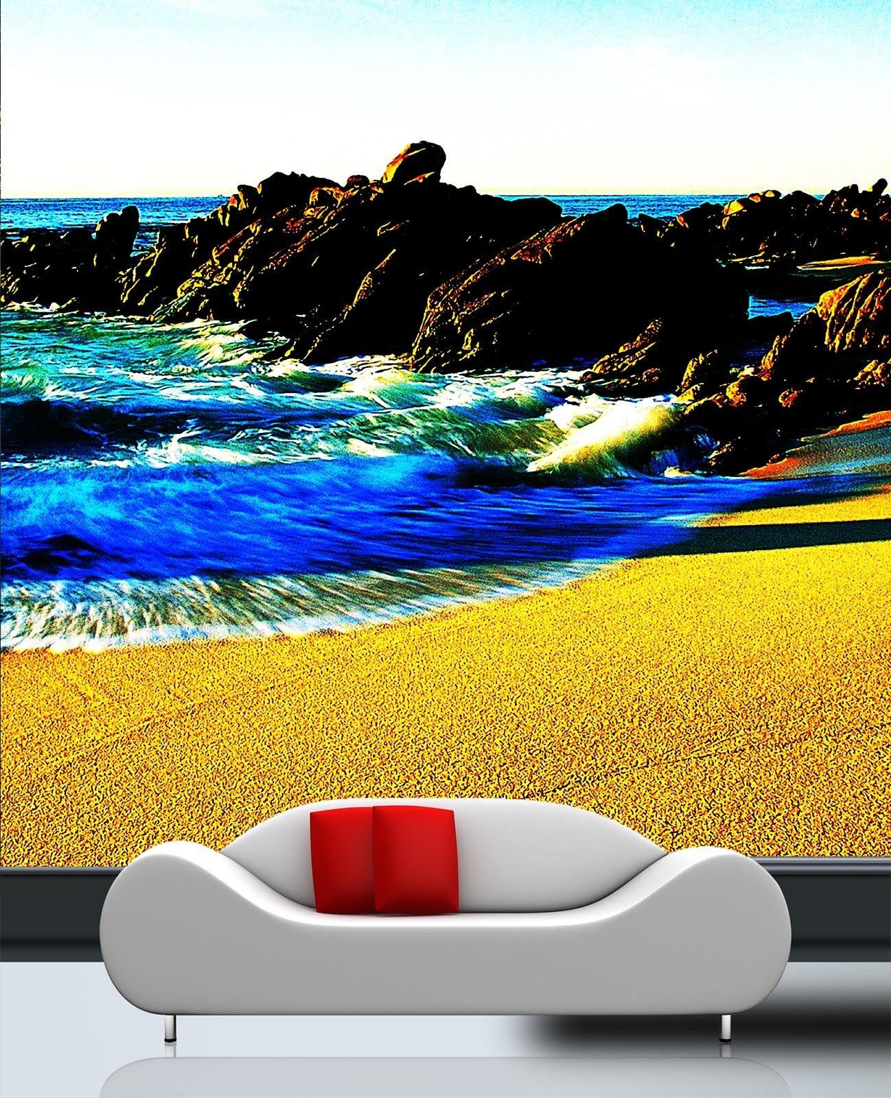 3D Felsiges Riff Strand 85 Tapete Wandgemälde Tapete Tapeten Bild Familie DE