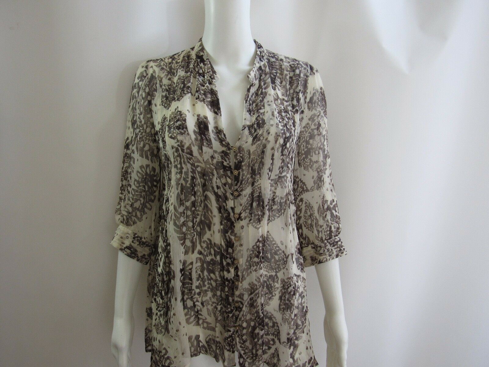 Joie Silk braun and Ivory Sheer Abstract Long Sleeve Tunic Größe S