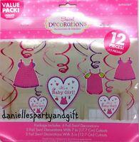 It's A Baby Girl Dangling Swirl Decoration Set (12 Piece Set) - 671489