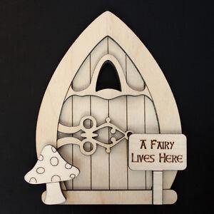 Wooden fairy elf door shape blank craft kit pixie plus for Fairy door shapes