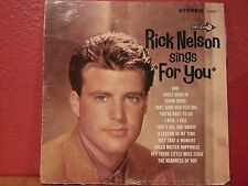"""Rick Nelson Sings """"For You"""" LP Decca DL 74479 Stereo"""