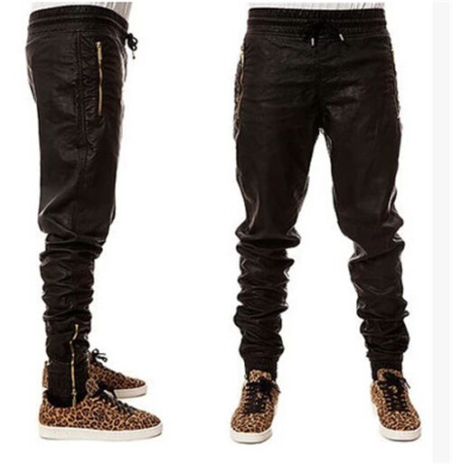 Men's Slim Fit Jogger Pants Hip Hop Skinny Synthetic Leather Dance Pants Outwear