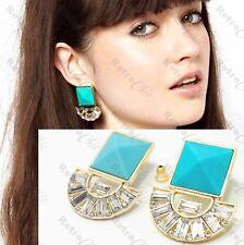 3cm chunky SQUARE aztec EARRINGS art deco GOLD FASHION turquoise blue RHINESTONE