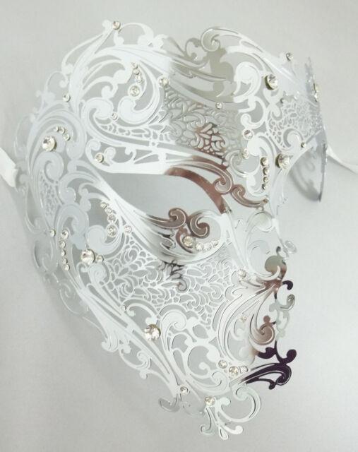 Silver Phantom Half Skull Metal Laser Cut Rhinestone Venetian Masquerade Mask