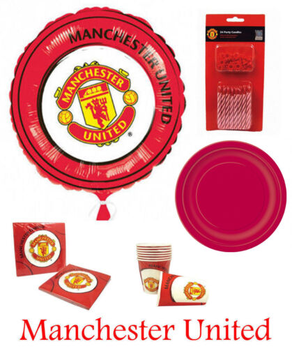 Manchester United Football Club MUFC Party Supplies Plates Cups Napkins kit 8-16