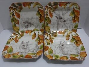 222-Fifth-Set-of-4-New-Birkhill-Manor-Multi-Color-Autumn-Porcelain-Salad-Plates