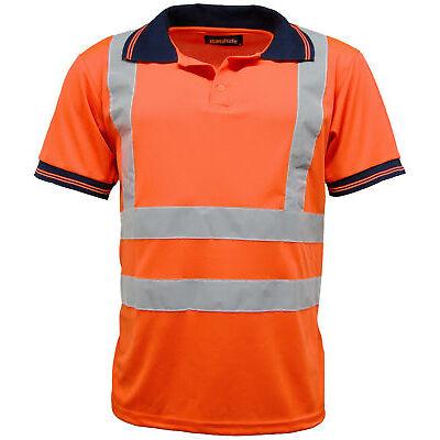 Hi Vis High Viz Visibility Short Sleeve Safety Work Polo T Shirt EN471 - HV004
