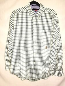 Tommy-Hilfiger-Long-Sleeve-Button-Up-Shirt-Men-039-s-Large-Plaid-Checks-Green-White