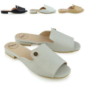 Sandalias-de-mujer-Deslizante-Peep-Toe-Damas-Plana-Vacaciones-Verano-Playa-Mula-Zapatos-Talla
