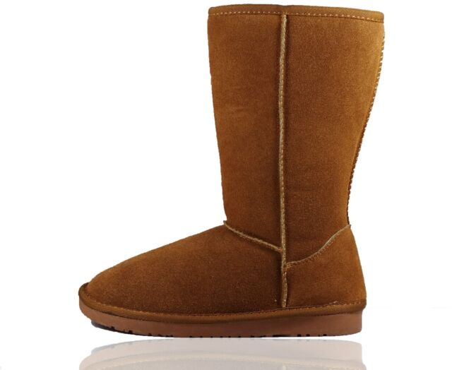New UK Womens Ladies Real Sheepskin Leather Mid Calf Winter Boots Shoes Size 3-8