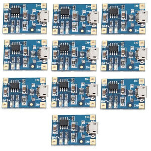 10pcs-TP4056-Micro-USB-Charger-Module-5V-1A-18650-Lithium-Battery-Charging-Board