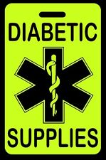 Hi-Viz Yellow DIABETIC SUPPLIES Luggage/Gear Bag Tag - FREE Personalization-New