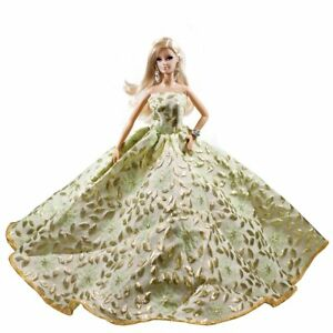 Barbie Golden Leaves Leaf Gown Barbie Romantic Strapless Ball Gown ...