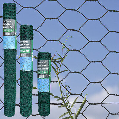 PVC Coated Chicken Rabbit Wire Mesh Aviary Fence Garden Fencing 25M Green Wire
