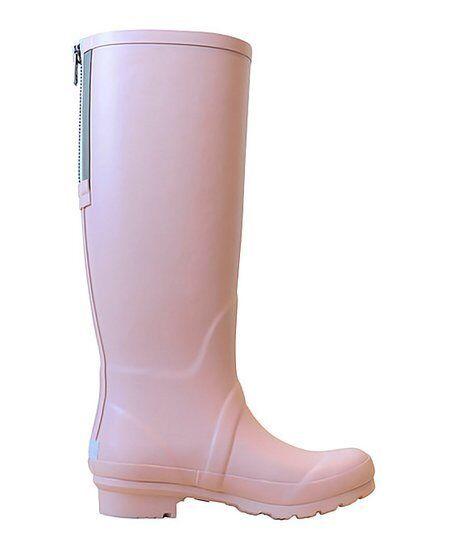 Lemon Silver Strawberry Pink Zip Tall Rain Stiefel Sz 6 NWOB 125