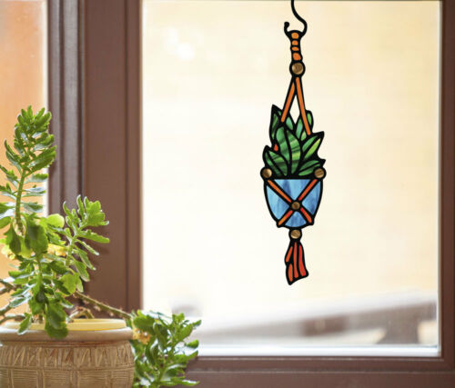 CLR:WND Hanging Plant Succulent D1 See-Through Vinyl Window Decal ©YYDC SIZES