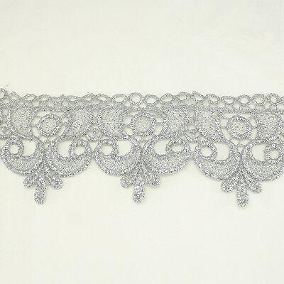 "2.50"" Metallic Rayon Embroidery Scalloped Lace Trim Metallic Bridal wedding Trim"