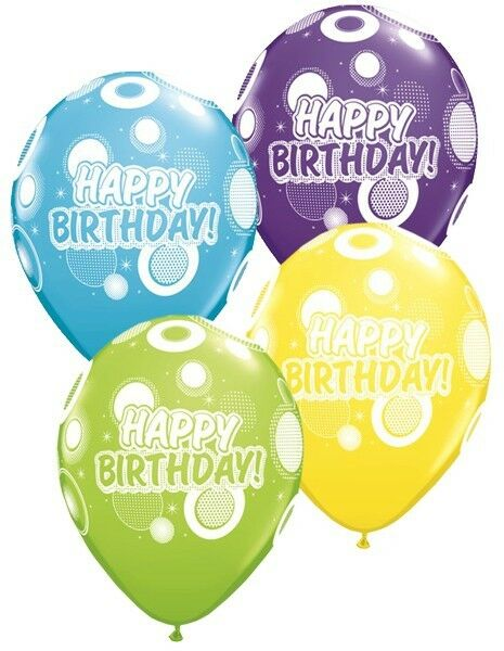"""6 x Happy Birthday Various Colours Mix 11/"""" Latex Balloons Party 72727"""