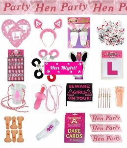Hen-Night-Party-Accessories-Badges-Sashes-Willy-Bopper-Straws-Girls-Ladies-Games